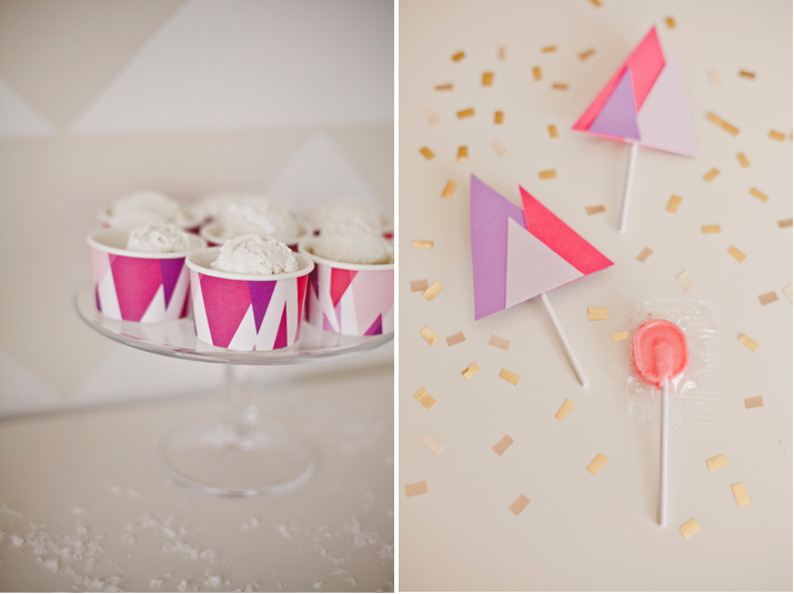 Custom ice cream cups and lollipop covers for a Winter Wonderland birthday dessert table by Shauna Younge | Sweet Tooth (pic: Angela Rose Photography)