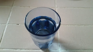 A blue glass of drinking water