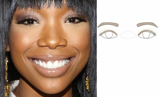 макияж для широко расставленных глаз, схема 1. широко расставленные глаза, макияж 1.