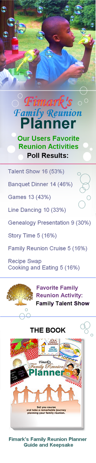 Fimark's Family Reunion Planner Favorite Reunion Activities Survey