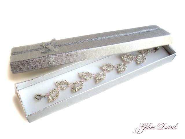 Серебряный браслет 925 пробы ручной работы из японского бисера