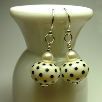 Lampwork glass and sterling silver earrings