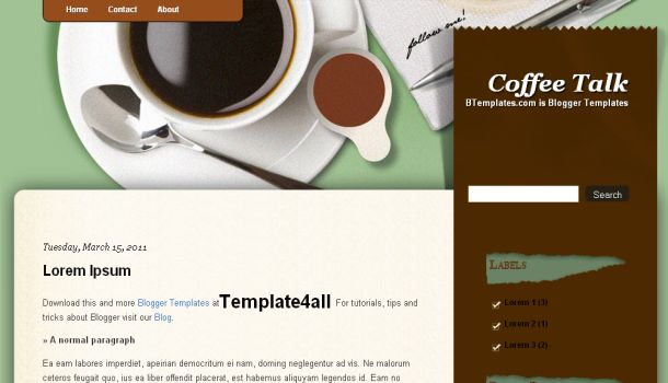 Coffee Cup Brown Web2.0 Blogger Template