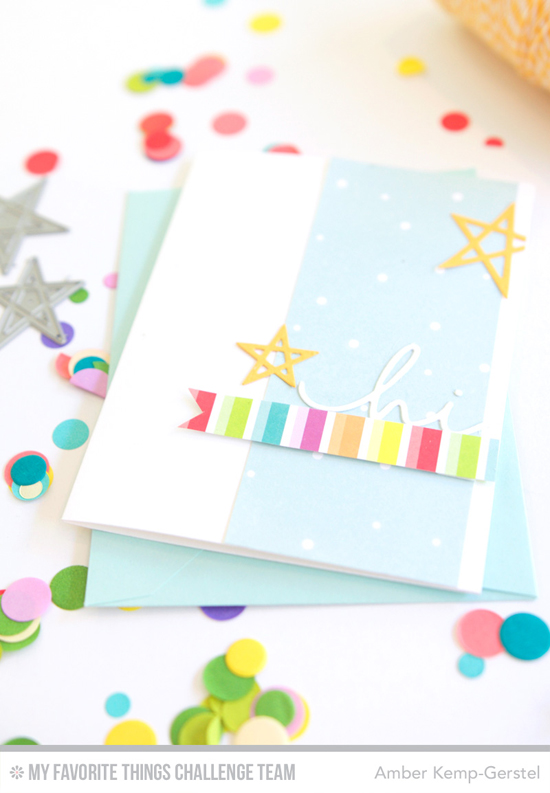 Colorful Hi Card by Amber Kemp-Gerstel featuring the Happy Hellos and Laina Lamb Design Lucky Stars Die-namics #mftstamps