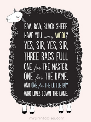 Mr Printables Baa Baa Black Sheep Free Printable Download