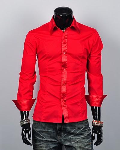 Mens red silk dress shirts