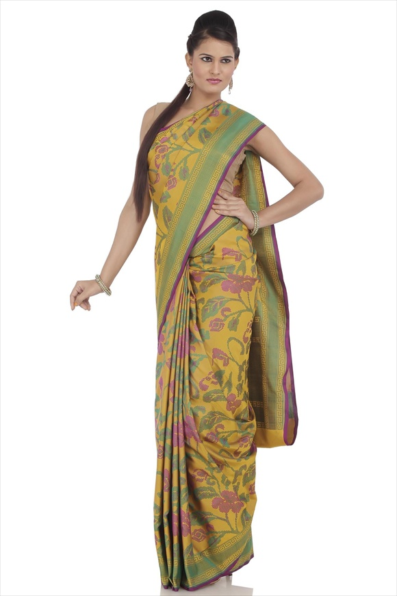 Mustard Yellow Kattan Silk Banarasi Saree
