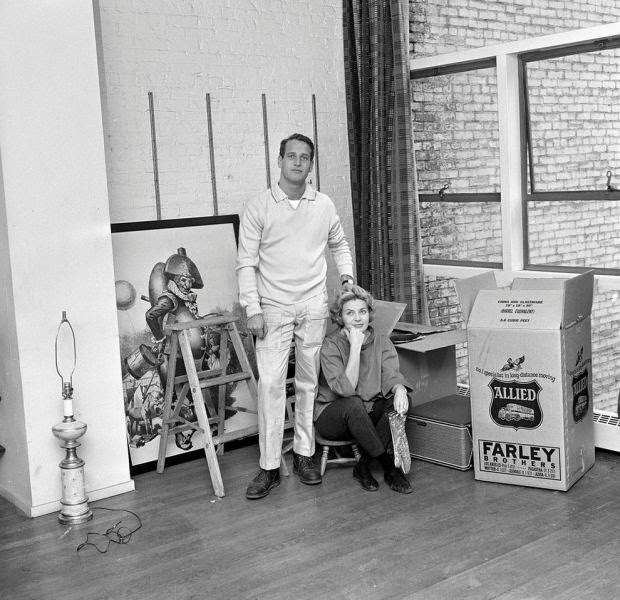 Moving in. Paul Newman and Joanne Woodward. c1960.