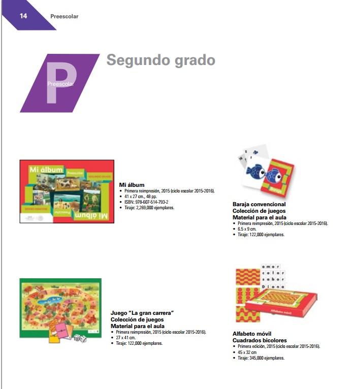 Libros de Texto Preescolar Segundo 2015-2016 Catalogo
