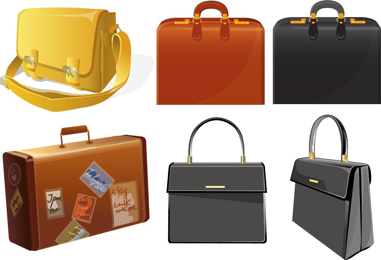 バッグ・スーツケース Bag vector and suitcase graphics イラスト素材