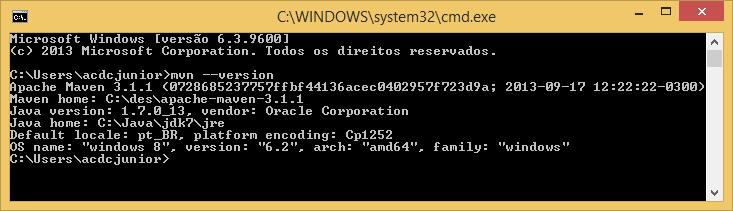 mvn --version em execução e seu resultado esperado