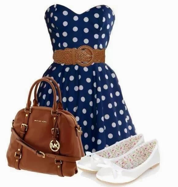 Adorable polka dot dress, brown handbag and white sandals