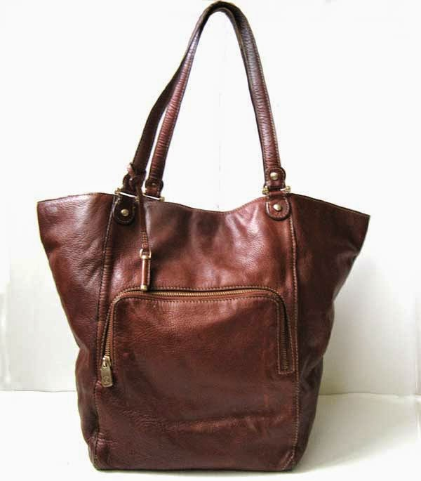 closet liz claiborne brown leather tote handbag