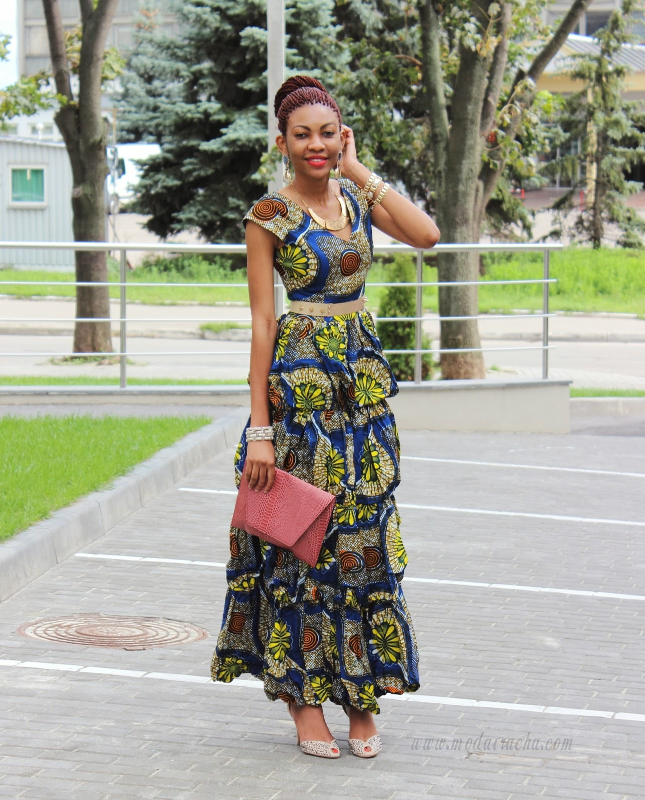 Long Ankara Dress With Front Slit Modavracha