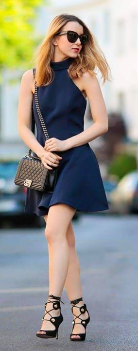 Navy Small dress,Black clutch, Heels, Accessories | Women Fashion