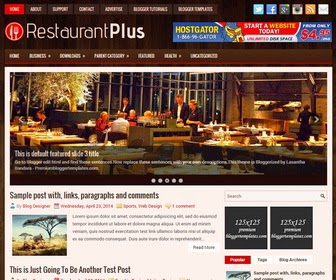 RestaurantPlus is a SEO Friendly, Responsive, 2 Columns Blogger Template for Restaurant/Hotel Related Blogs. RestaurantPlus Blogger Template has a jQuery Content Slider, Top Menu and Secondary Dropdown Menu, 468x60 Header Banner, Related Posts, Social Buttons, Breadcrumb, 3 Columns Footer, Tabbed Widget and More Features