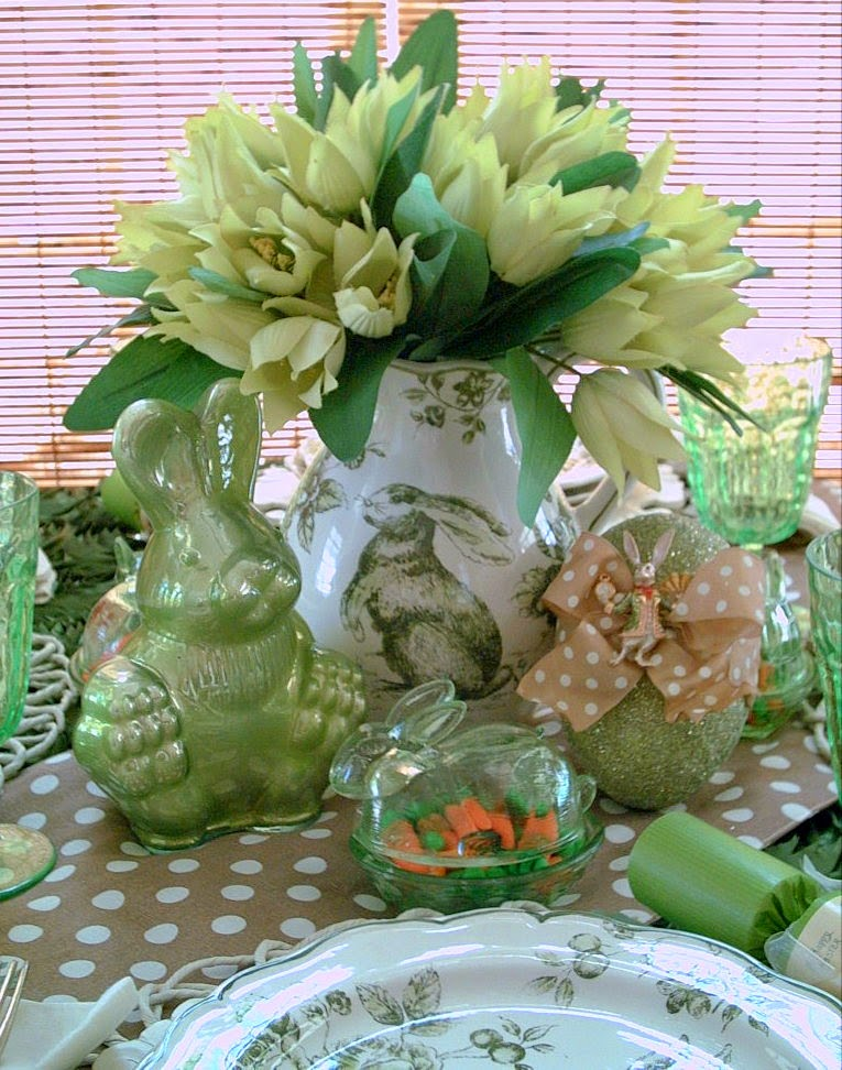 Candlelight supper green toile bunny tablescape rose
