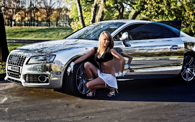 Shining Audi S5 and Beautiful Model HD Car Wallpaper