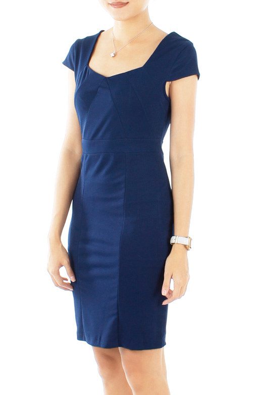 Dark Blue Zirconia Work Dress with Cap Sleeves