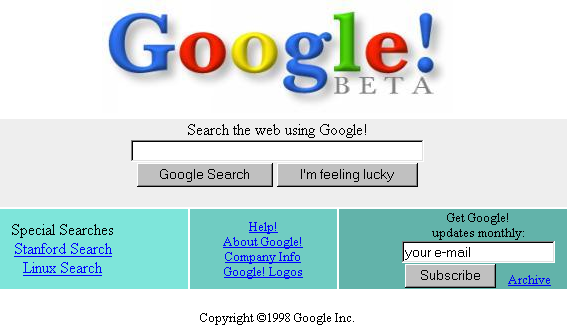 Google's original homepage had a simple design since its founders were not experienced in HTML, the language for designing web pages.