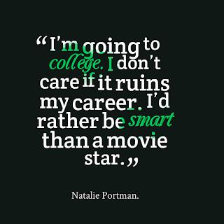College quote by natalie portman