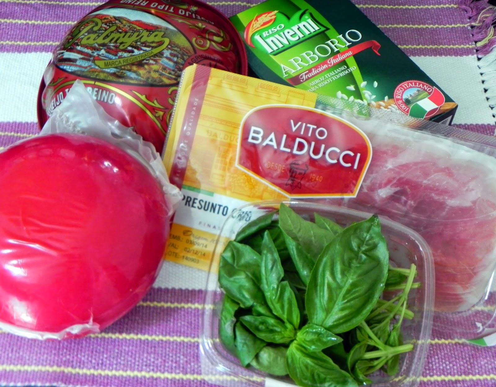 Ingredientes Queijo Manjericão Presunto Cru Arroz Arbóreo