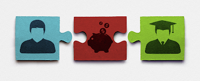 image of three puzzle pieces, one of a student, 2nd of a piggy bank with money, the third a graduate in cap and gown.