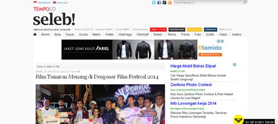 http://www.tempo.co/read/news/2014/08/25/111601964/Film-TumiranMenang-di-Denpasar-Film-Festival-2014