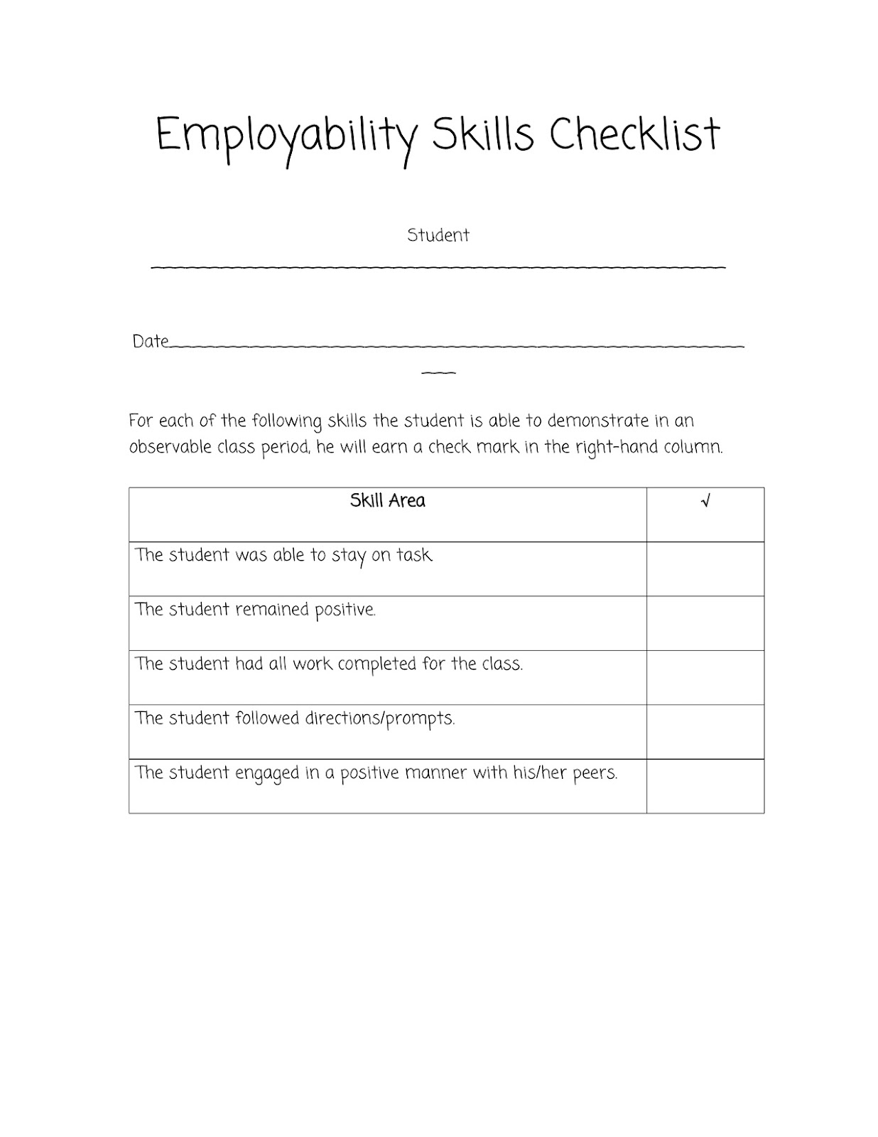 sped head  this is another checklist i use that is based off the iowa core s employability skills it is another observation form i use for iep data