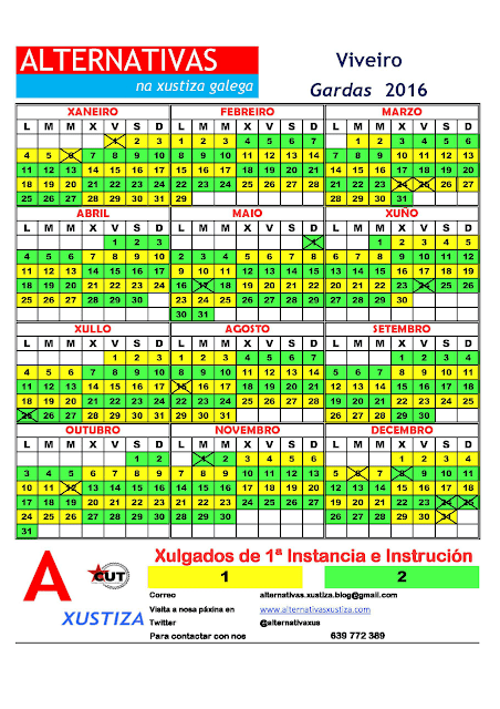 Viveiro. Calendario gardas 2016