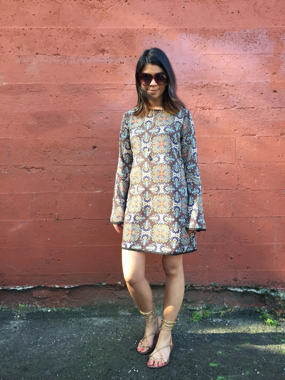 sunglasses, paisley dress, tj maxx, maxxinista, affordable fashion, portland blogger, fashion blogger, spring 2015, gold tie up sandals