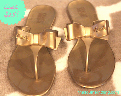 gold coach bow flip flops