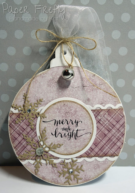 MDF bauble decorated in pink with snowflakes