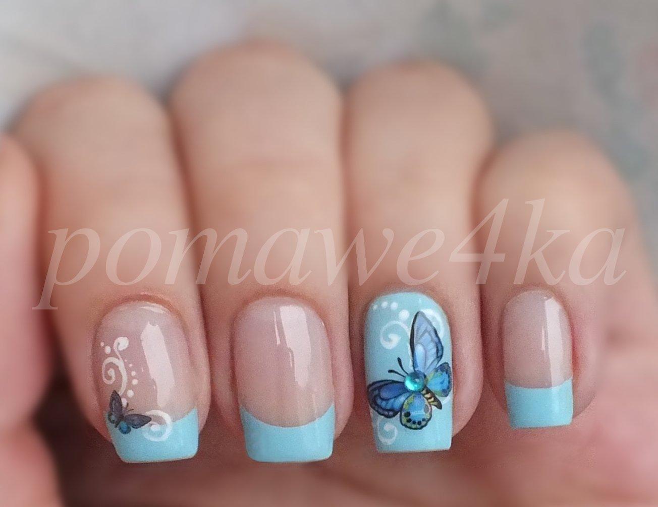 Рисунки на ногтях с наклейками фото