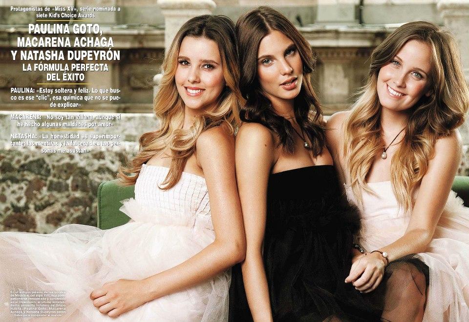 Paulina Goto, Macarena Achaga y Natasha Dupeyron en una revista