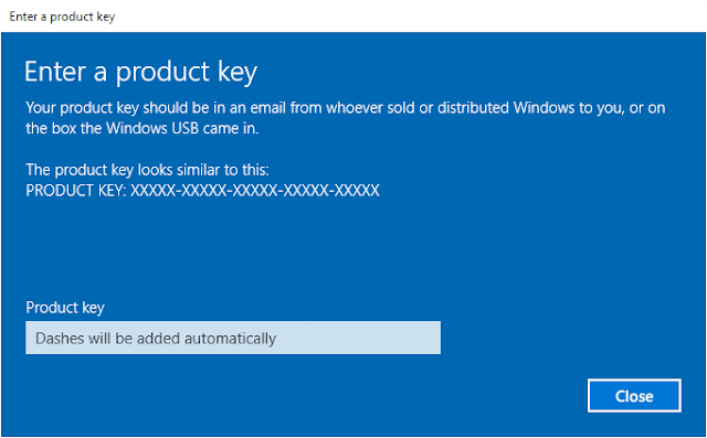 Product key Windows 10