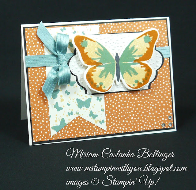 Miriam Castanho Bollinger, #mstampinwithyou, stampin up, demonstrator, pp, all occasions card, sweet li'l things dsp, watercolor wings bundle, perpetual birthday calendar, big shot, lots of labels framelits, softly falling tief, banner triple punch, su