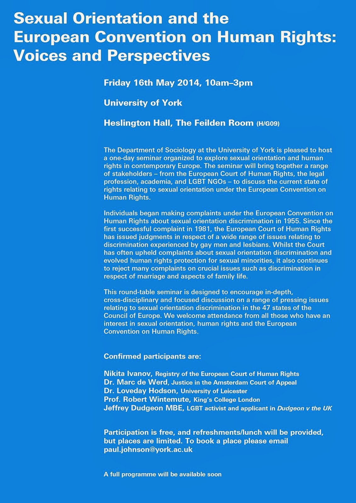 Seminar on sexual orientation and the ECHR at York on Friday 16th May