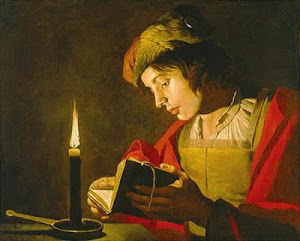 Painting of Man Reading by Candlelight (Matheius Stom)