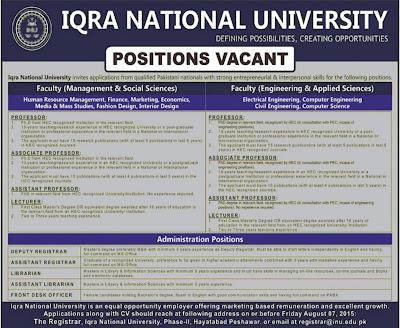 Teaching & Admin Staff Jobs in Iqra National University Peshawar