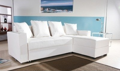 Haram Furniture San Jose Leatherette Convertible Sectional Storage Sleeper Sofa in White