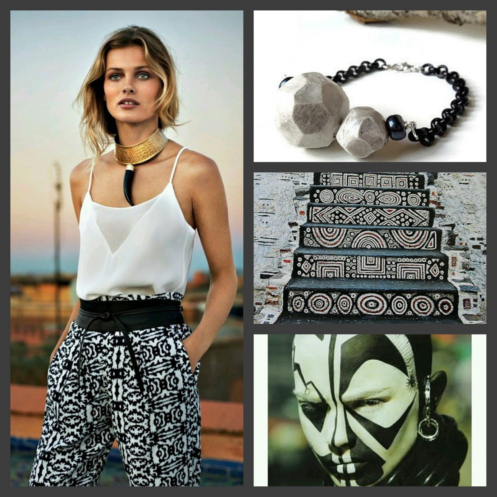 minimal tribal black and white outfit