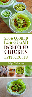Slow Cooker Low-Sugar Barbecued Chicken Lettuce Cups found on KalynsKitchen.com