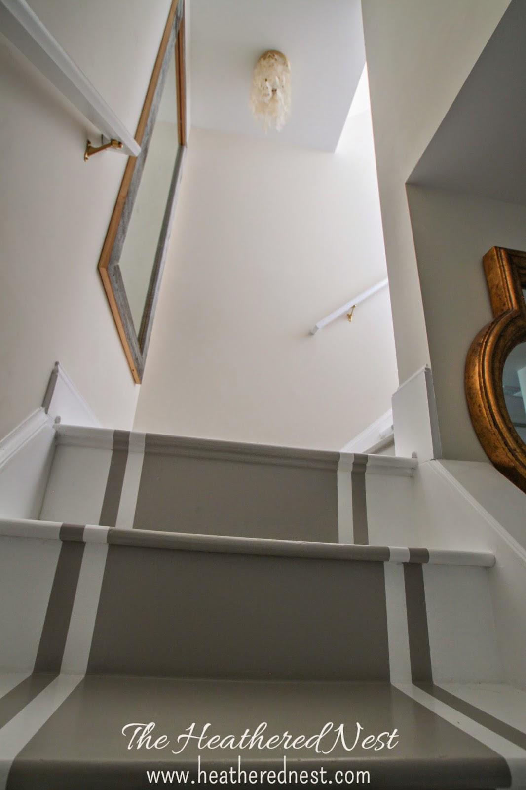 dark basement stairs. Exellent Basement Painted Stripe Stairway Runner  Brightened Up Basement Makeover For Dark Stairs O