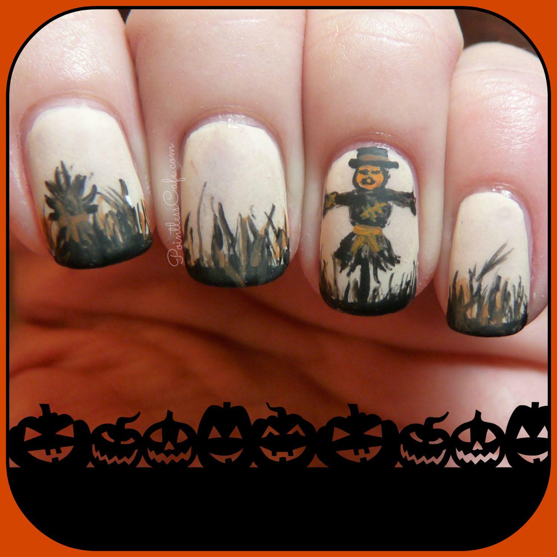 Fallhalloween nail art pumpkinhead scarecrow pointless cafe halloween fall autumn nail art nailart scarecrow pumpkinhead prinsesfo Images