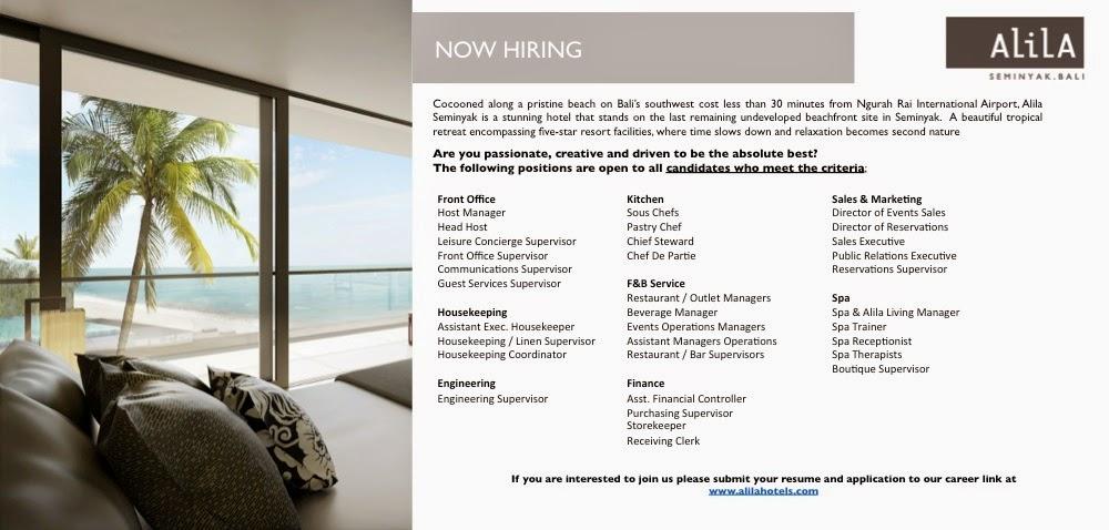Alila Seminyak Job Vacancy