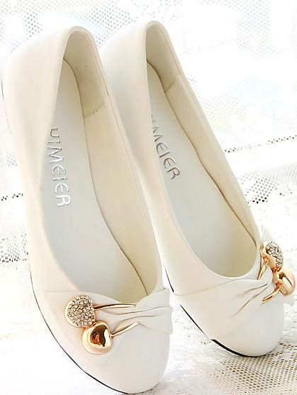 Bowknot Rhinestone Flat Documentary Shoes
