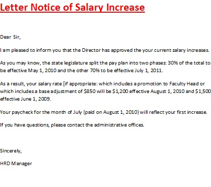 Letter Notice Of Salary Increase. Sample ...