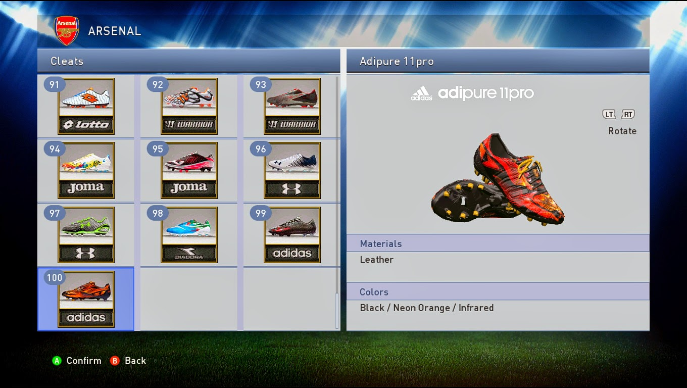 PES 2015 Unlocked 100 Boots for SUN-Patch 2015 1.0