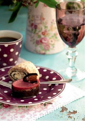 copa taza y plato lila greengate